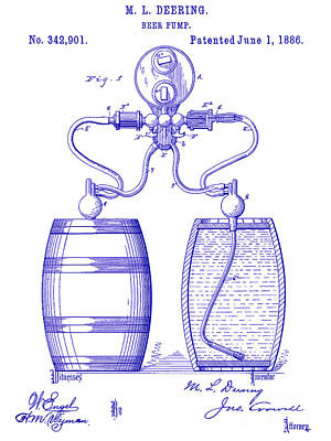 Stein Photograph - 1886 Beer Pump Patent Blueprint by Jon Neidert