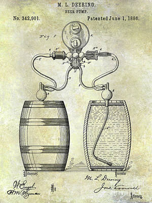 Stein Photograph - 1886 Beer Pump Patent by Jon Neidert
