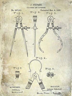 1886 Photograph - 1886 Caliper Patent by Jon Neidert