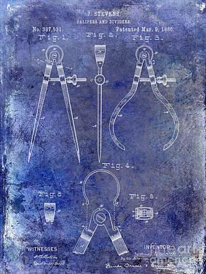 1886 Photograph - 1886 Calipers Patent Blue by Jon Neidert