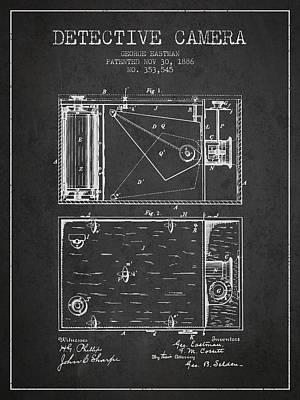 1886 Detective Camera Patent - Charcoal Art Print