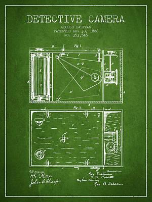 1886 Detective Camera Patent - Green Art Print