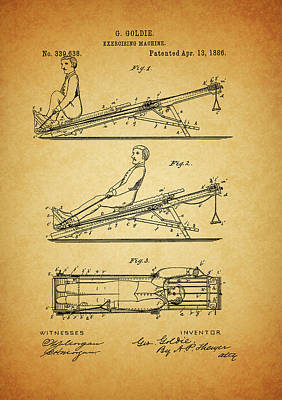 1886 Exercising Machine Patent Art Print by Dan Sproul