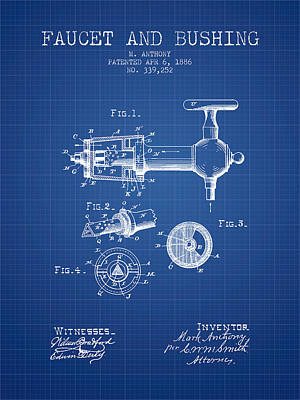 Beer Royalty-Free and Rights-Managed Images - 1886 Faucet and bushing Patent - Blueprint by Aged Pixel