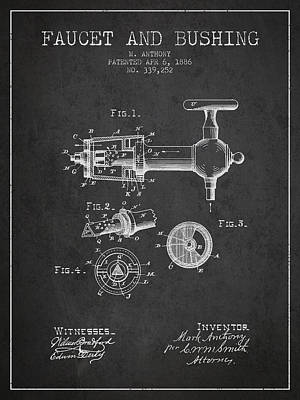 Beer Royalty-Free and Rights-Managed Images - 1886 Faucet and bushing Patent - Charcoal by Aged Pixel