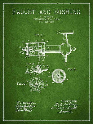 Beer Royalty-Free and Rights-Managed Images - 1886 Faucet and bushing Patent - Green by Aged Pixel