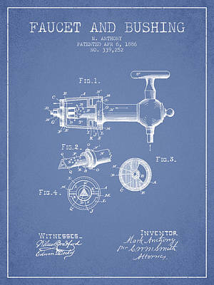 Beer Royalty-Free and Rights-Managed Images - 1886 Faucet and bushing Patent - Light Blue by Aged Pixel