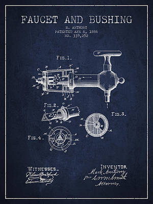 Beer Royalty-Free and Rights-Managed Images - 1886 Faucet and bushing Patent - Navy Blue by Aged Pixel