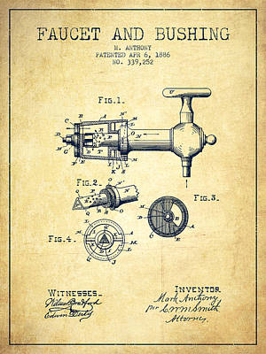 Beer Royalty-Free and Rights-Managed Images - 1886 Faucet and bushing Patent - Vintage by Aged Pixel