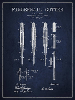 Finger Drawing - 1886 Fingernail Cutter Patent - Navy Blue by Aged Pixel