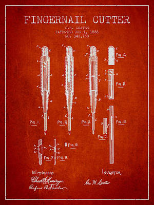 Finger Drawing - 1886 Fingernail Cutter Patent - Red by Aged Pixel