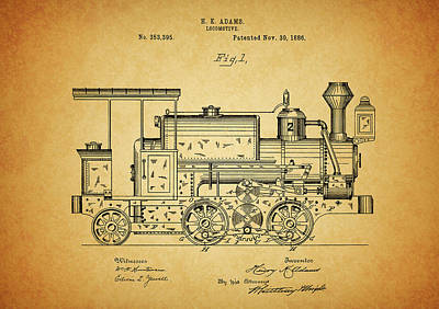 Train Mixed Media - 1886 Locomotive Patent by Dan Sproul