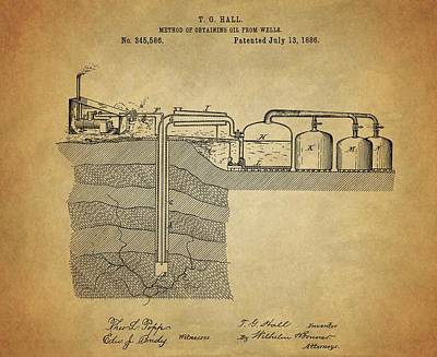 1886 Mixed Media - 1886 Oil Well Patent by Dan Sproul