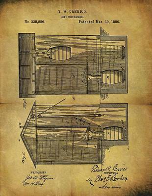Plumber Drawing - 1886 Outhouse Patent by Dan Sproul