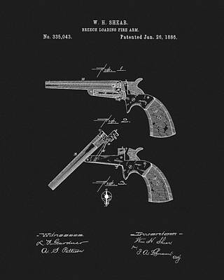 Drawing - 1886 Pistol Patent by Dan Sproul