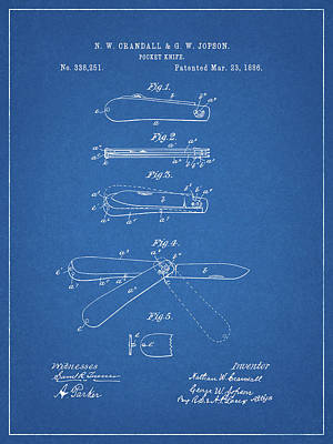 Mixed Media - 1886 Pocket Knife Patent by Dan Sproul
