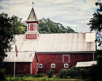1886 Red Barn Art Print by Lisa Russo