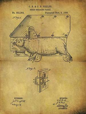 1886 Sheep Shearing Table Patent Art Print
