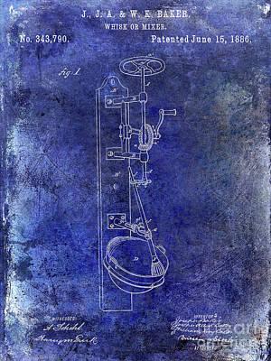 1886 Photograph - 1886 Whisk Or Mixer Patent Blue by Jon Neidert