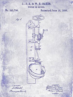 1886 Photograph - 1886 Whisk Or Mixer Patent Blueprint by Jon Neidert