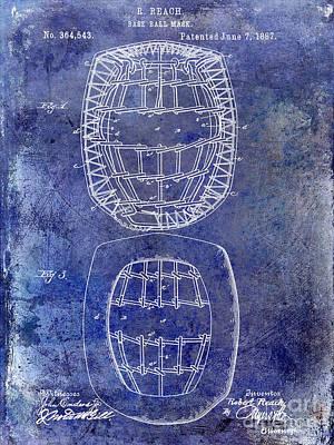 1887 Baseball Mask Patent  Blue Art Print by Jon Neidert