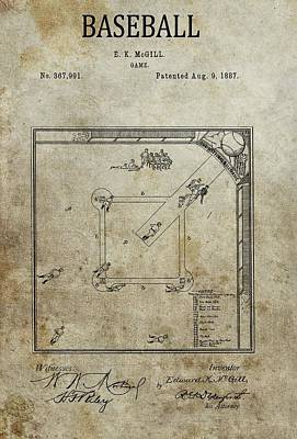 Athletes Drawings - 1887 Baseball Game Patent by Dan Sproul