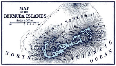 Old Map Painting - 1887 Bermuda Islands Map by Historic Image