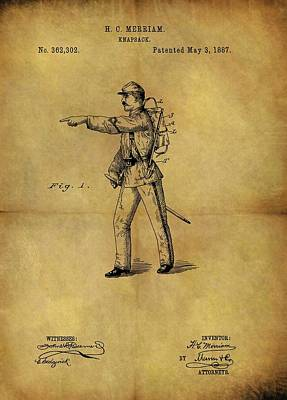 Drawing - 1887 Military Knapsack Patent by Dan Sproul
