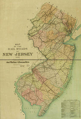 Drawing - 1887 New Jersey Railroad Map by Dan Sproul