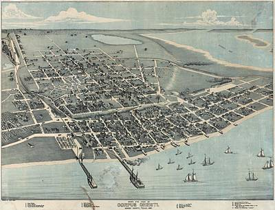 Mixed Media - 1887 Old Map Corpus Christi by Dan Sproul