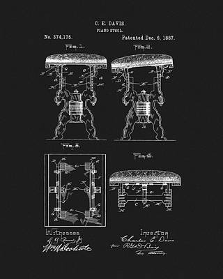 Mixed Media - 1887 Piano Stool Patent by Dan Sproul