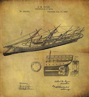 Beach Drawings - 1887 Ship Patent by Dan Sproul