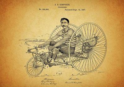 Steampunk Royalty-Free and Rights-Managed Images - 1887 Velocipede Patent by Dan Sproul