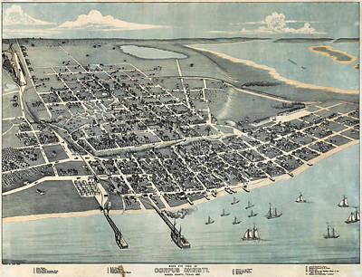 Corpus Christi Photograph - 1887 Vintage Map Of Corpus Christi by Stephen Stookey