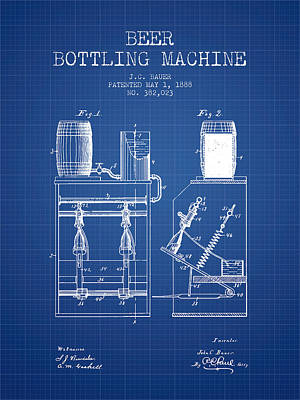 Beer Royalty-Free and Rights-Managed Images - 1888 Beer Bottling Machine patent - Blueprint by Aged Pixel