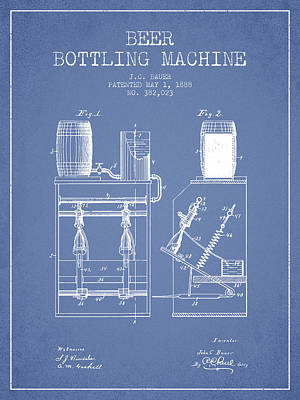 Beer Royalty-Free and Rights-Managed Images - 1888 Beer Bottling Machine patent - Light Blue by Aged Pixel