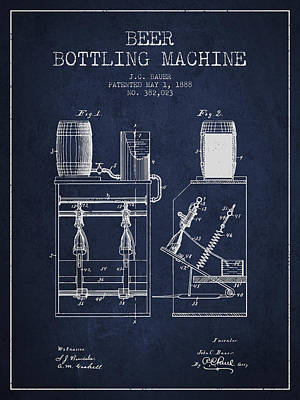 Beer Royalty-Free and Rights-Managed Images - 1888 Beer Bottling Machine patent - Navy Blue by Aged Pixel