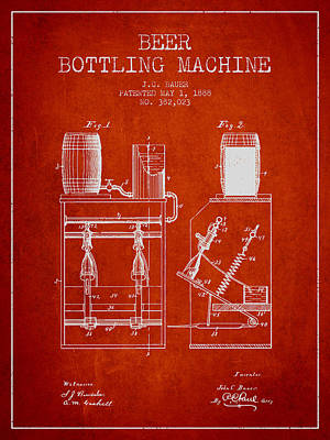 Champagne Drawing - 1888 Beer Bottling Machine Patent - Red by Aged Pixel