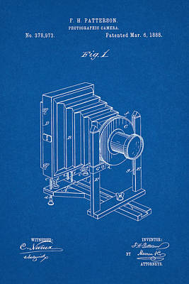 Digital Art - 1888 Camera Us Patent Invention Drawing - Blueprint by Todd Aaron