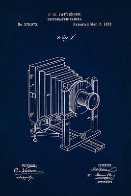 Digital Art - 1888 Camera Us Patent Invention Drawing - Dark Blue by Todd Aaron