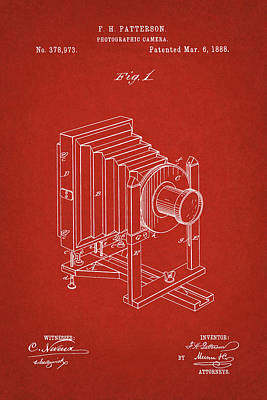 Digital Art - 1888 Camera Us Patent Invention Drawing - Red by Todd Aaron