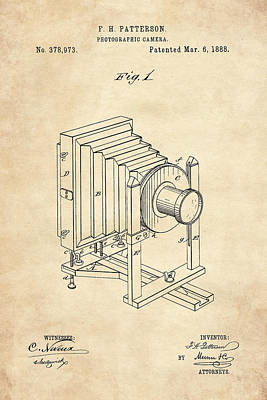 Digital Art - 1888 Camera Us Patent Invention Drawing - Vintage Tan by Todd Aaron