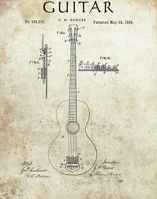 Musicians Drawings - 1888 Guitar Patent by Dan Sproul