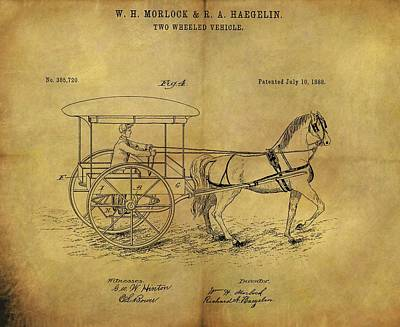 Animals Drawings - 1888 Horse Carriage Patent by Dan Sproul
