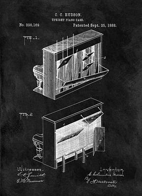 Musicians Drawings - 1888 Piano Patent by Dan Sproul