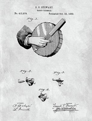Hall Of Fame Drawing - 1889 Banjo Patent Blueprint by Dan Sproul