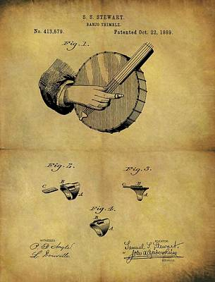 Musicians Drawings - 1889 Banjo Patent by Dan Sproul