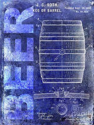 Modern Micro Art Photograph - 1889 Beer Barrel Patent Blue by Jon Neidert