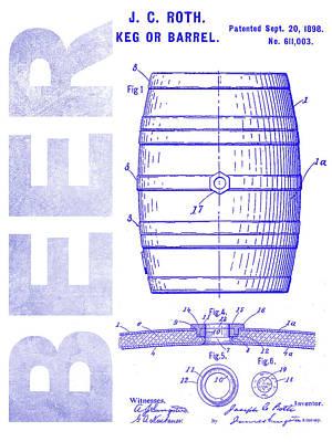 Modern Micro Art Photograph - 1889 Beer Barrel Patent Blueprint by Jon Neidert