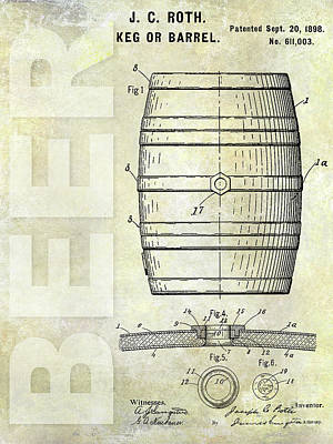 1889 Beer Barrel Patent Art Print